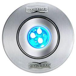 Luminária Hiper Led RGB 9W Corpo Latão/ Frontal Inox/ Tubo 50mm - Cabo 1,5m